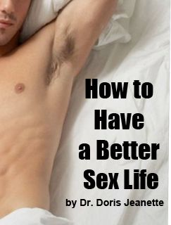 A sex man alone with no one in the bed with him. Title of sex course is how to improve your sex life.