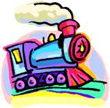 colorful, perky, happy train