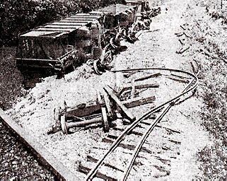 train wreck in black and white